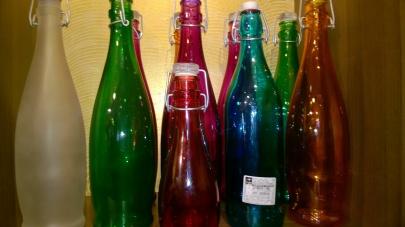 Bottles in various hues